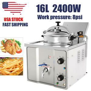 16l 304 Stainless Steel Commercial Electric Pressure Fryer Cooker 0 200 c 110v