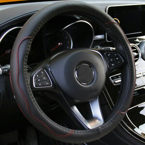 Car Steering Wheel Cover Black Red Stitching Pu Leather Universal 38cm 15
