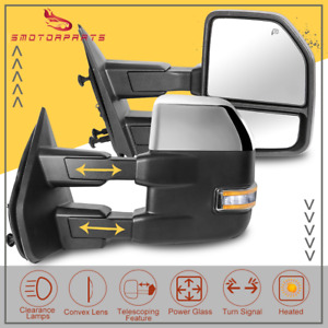 Chrome Power Heated Tow Mirror W Turn Signal Puddle Light For 2007 14 Ford F150