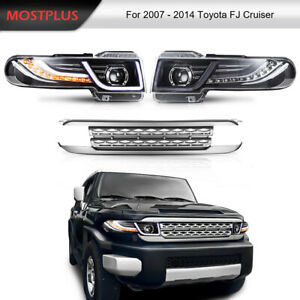 Set 2 Led Halo Projector Headlights W Grille For 2007 2015 Toyota Fj Cruiser