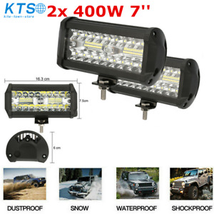 2x 400w 7 Car Led Work Light Bar Spot Flood Beams Combo For Off Road Suv Truck