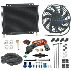 Transmission Oil Cooler Electric Fan 6an Barb In line Hose Thermostat Switch Kit