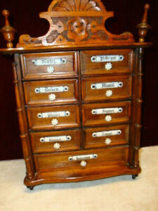 Antique Spice Box Oak With Blue White Porcelain Labels Germany 9 Drawer C 1900