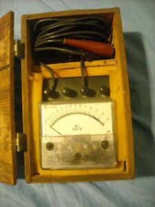 Vintage Westinghouse Electrical Instrument Ac Volt Meter W Wooden Box Pa 141