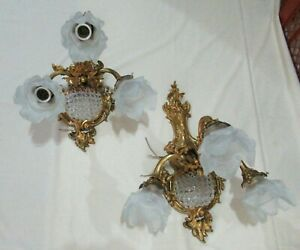 Antique Pair Bronze Wall Sconces Tulips Glass Beaded Mesh 4 Lights Each Wired