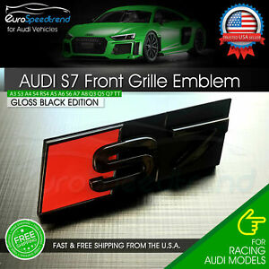 Audi S7 Front Grill Emblem Gloss Black For A7 S7 Hood Grille Badge Nameplate