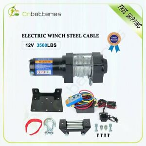 12v 3500lbs Electric Recovery Winch Towing Truck 5 3mm 10m Steel Rope Off Road