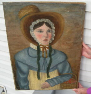 Primitive Antique Oil On Canvas Painting Bonnet Hat Gathering Basket Sexy