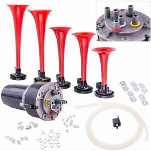 Dukes Of Hazzard Dixie Horn Trumpets Musical Horn Kit 125db Compressor Red 5pcs