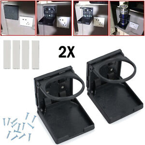 2x Universal Folding Cup Drink Holder Adjustable Car Truck Boat Camper Rv Black