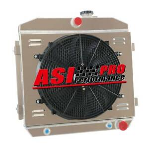 4 Row Radiator Shroud Fan For 1955 56 57 Chevy Bel Air Nomad V8 W Cooler 210 150