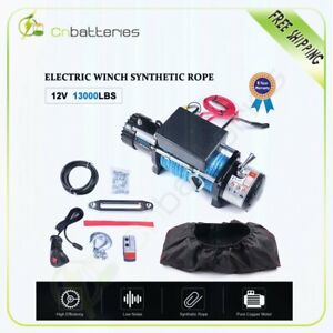 13000lbs Electric Winch Synthetic Rope 12v Towing Truck Suv Off Road W cover