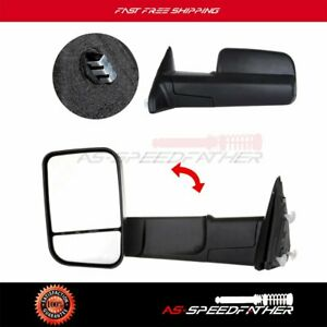 Black Manual Flip Up Towing Two Side Mirrors For 2011 2015 Dodge Ram 2500 3500