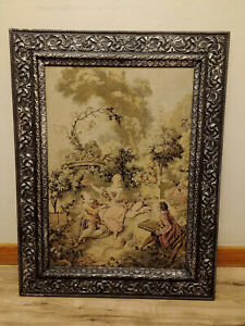 Antique Victorian French Silk Tapestry Original Black Silver Wood