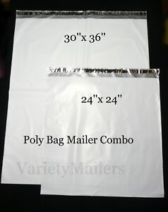 2 Large Poly Bag Mailer Combo 24x24 30x36 2 5 Mil Quality Shipping Envelopes