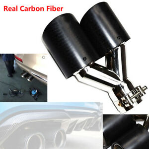 Universal Car Exhaust Dual Tail Pipe Tip 63mm 89mm Inlet Carbon Fiber left Side