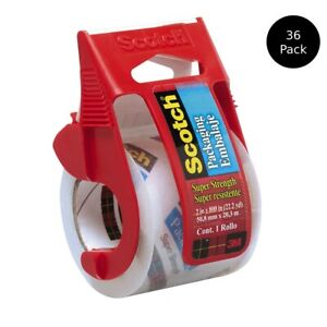 Scotch 341 Packaging Tape W Dispenser 2 X 800 In Super Strong Clear Case Of 36