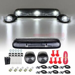 3 Clear Cab Roof Marker Lamp W 168 White Led Free Grille Light For Chevy Gmc