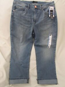 Ladies quot;Leequot; 12P Blue Distressed Easy Fit Skyrider Crop $29.99