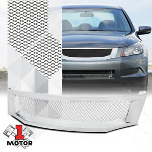 For 2008 2010 Honda Accord wire Mesh glossy Chrome Abs Bumper Grille Vent Grill