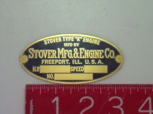 Stover Type K Reproduction Nameplate