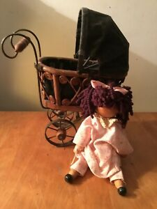 Vintage Ornate Wicker Baby Doll Carriage Wood Metal Wheels With Wooden Doll