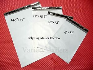 70 Poly Bag Mailer Assortment 4 Medium To Large Sizes Shipping Envelope Bags