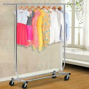 Commercial Single Rail Clothing Garment Rolling Collapsible Rack