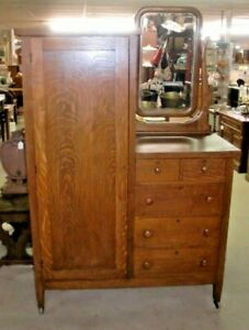 Oak Chifferobe With Beveled Mirror Dresser Chest Vintage