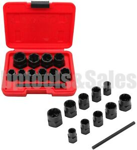 11pcs Damaged Lug Nut Lock Remover Twist Socket Set Extractor Tool 9 19mm Metric