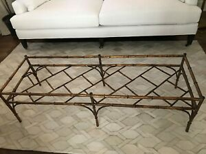 Amazing Vintage Metal Gilt Faux Bamboo Coffee Table Base
