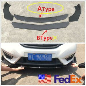 Universal Car Front Bumper Lip Splitter Fins Body Spoiler Chin For Bmw Benz Ford