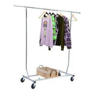 Commercial Chrome Single Rail Clothing Garment Rolling Collapsible Rack Hanger