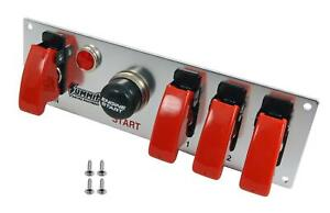 Summit Racing 830814 Switch Panel Dash Mount Brushed Alum Four Toggle Switches