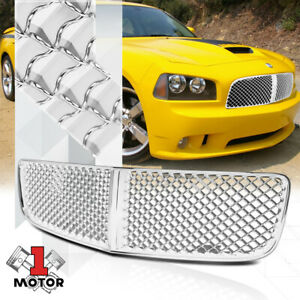 For 2006 2010 Dodge Charger Lx 3d Wave Mesh Glossy Chrome Bumper Grille Grill