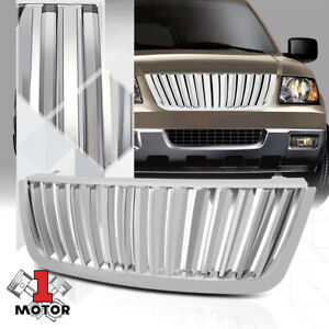 For 2003 2006 Ford Expedition Vertical Bar Glossy Chrome Abs Bumper Grille Grill