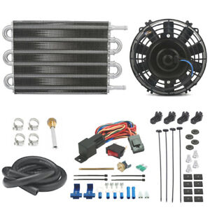 Universal Transmission Oil Cooler 6 Inch Electric Fan Thermostat Switch Tow Kit