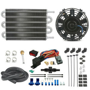Engine Trans mission Oil Cooler Fan An6 6an In line Hose Thermo stat Switch Kit