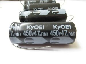 Lot 4 Kyoei Electrolytic Axial Capacitors 450v 47uf m Amplifier Parts