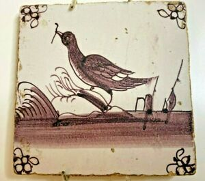 Bird With Twig Antique Delft Tile Brown Tone