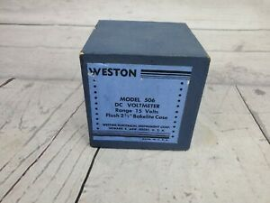 Vintage Weston Model 506 Analog Dc Voltmeter Round In Original Box