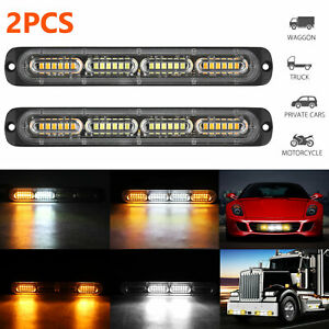 2x White Amber 24 Led Car Truck Emergency Warning Hazard Flash Strobe Lights Bar