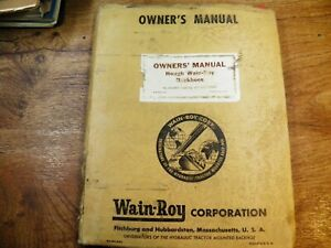 Hough Wain Roy Back Hoe Owners Manual Parts List All Models H2500c up