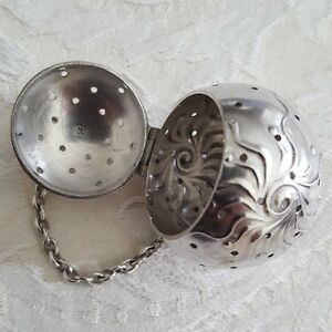 1 Frank Whiting Sterling Tea Ball Infuser Strainer W Chain