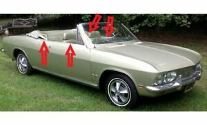 1965 1969 Chevy Corvair Convertible Window Weatherstrip W stainless Bead 8pcs
