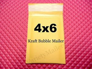 15 Small Kraft Bubble Envelopes 0000 4 x 6 Padded Shipping Mailers 4x6