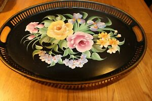 Vintage Toleware Tray Hand Painted Flowers Decorated By Pilgrim Art 155 Black