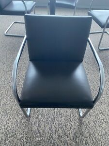 Knoll Mies Van Der Rohe Dark Brown Leather And Chrome Brno Chair