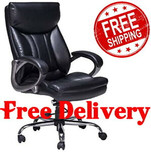 High Back Leather Office Chair Ergonomic Executive Big And Tall Computer Desk