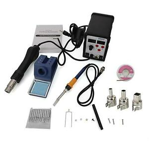 898d 2in1 Smd Soldering Iron Hot Air Gun Rework Station W 11 Tips